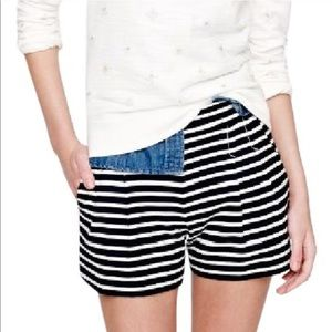 J. Crew Striped Sailor Shorts Navy White Pleated